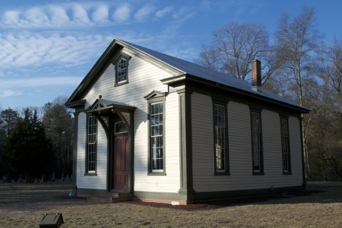 Bethesda Methodist Episcopal Church, located near Raccoon Pond, was built in 1879. Photo taken by Brittney Slavens in February 2014.