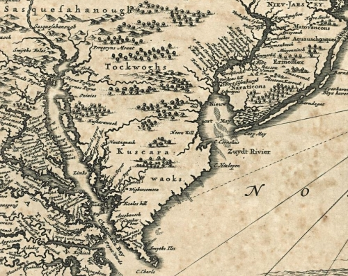 Section of a copy of Jan Jansson's map of the New Netherlands, 1651, incorporating much of the information from John Smith's map of 1612, and erroneously placing Cape Hinlopen at Fenwick Island.